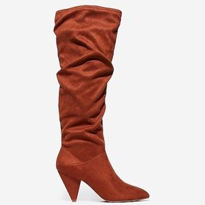 New Express Slouched Heel Congac Boots Size 8